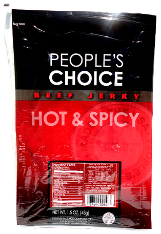 People's Choice Premium Hot & Spicy Beef Jerky 1.5 oz Tear Bag