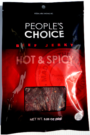 People's Choice Premium<br> Hot & Spicy Beef Jerky 3.25 oz Bag